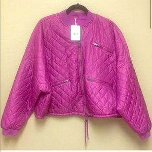 Free People || Quilted Bomber Pink/Purple Jacket